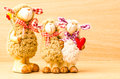 Family sheep doll in valentine day Royalty Free Stock Image