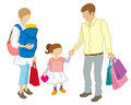 Family shopper white background illustration Stock Photo