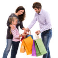 Family with shopping bags on a white background Stock Image