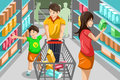 Family shopping grocery a vector illustration of happy in supermarket Stock Image