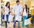 Family shopping mall looking very happy Royalty Free Stock Photos