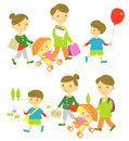 Family shopping picnic and Royalty Free Stock Photography