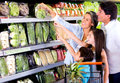 Family shopping at the supermarket Royalty Free Stock Images