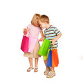 Family shopping young couple with shopping bags little boy and little girl checking and looking holiday sale isolated on white Royalty Free Stock Photos