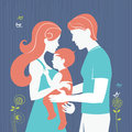 Family silhouette of parents with baby girl Royalty Free Stock Photography