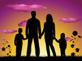 Family silhouette sunset Stock Image
