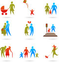 Family silhouettes  - 2 Royalty Free Stock Image