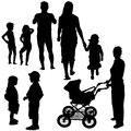 Family silhouettes black illustrations vector Royalty Free Stock Photo