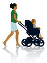 Family silhouettes of mother and child on the walk Royalty Free Stock Photos