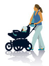 Family silhouettes of mother and child on the walk Stock Photos