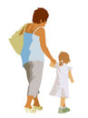 Family silhouettes of mother and child on the walk Royalty Free Stock Photography