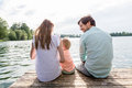 Family sitting on jetty of pond or lake in summer Royalty Free Stock Photo