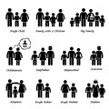 Family size and type of relationship cliparts a set human pictograms representing different between them Stock Photography