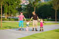 Family skating Royalty Free Stock Photos