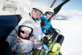 Family in ski resort Royalty Free Stock Image
