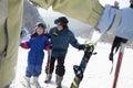 Family skiing in ski resort Stock Photography