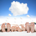 Family sleeping on the bed with dream cloud concept Royalty Free Stock Photos