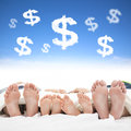 Family sleeping on the bed with money sign concept Royalty Free Stock Photography