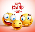 Family of smiley faces vector characters for happy parents day