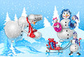 Family of snowmen large in the winter nature background snowing pope makes new snowman Stock Photography