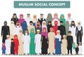 Family and social concept. Arab person generations at different ages. Group young and old muslim people standing