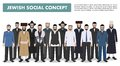 Family and social concept. Group adults jewish men standing together in different traditional clothes in flat style
