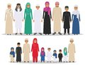 Family and social concept. Group muslim arabian children standing together in row in different traditional islamic