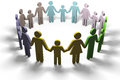 Family social people join community together group of families in circle of friendship Royalty Free Stock Photography
