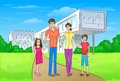 Family standing in front of new big modern house Royalty Free Stock Photo
