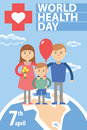 Family standing on a globe and red cross Royalty Free Stock Photo