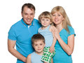 Family standing on the white background Royalty Free Stock Photo