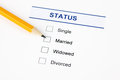 Family status form marital status form with checkbox and pensil Stock Photography