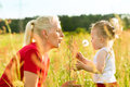 Family summer - blowing dandelion seeds Royalty Free Stock Photo