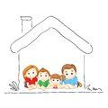 Family in Sweet Home Royalty Free Stock Images