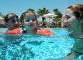 Family swimming Stock Image