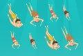 Family swimming underwater Royalty Free Stock Photo