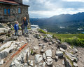 Family tatra mountain poland view kasprowy wierch mount top cable lift station Stock Images