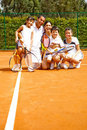 Family at the tennis court Stock Image
