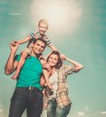 Family with their child outdoors Royalty Free Stock Photo