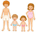 A family in their swimming attire illustration of on white background Stock Image