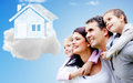 Family thinking of their dream house beautiful happy Royalty Free Stock Photography