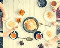 Family of three having breakfast Royalty Free Stock Photo