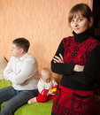 Family of three having quarrel Royalty Free Stock Images
