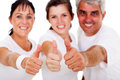 Family thumbs up active giving thumb against white background Stock Image