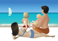 Family tour vector illustration of with two kids sitting on sand on tropical beach and watching yacht Stock Image