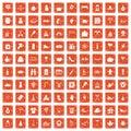 100 family tradition icons set grunge orange Royalty Free Stock Photo