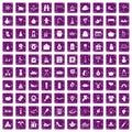 100 family tradition icons set grunge purple Royalty Free Stock Photo