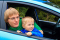 Family travel by car father and son looking from the window Royalty Free Stock Image