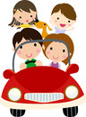 Family travel a cute cartoon Royalty Free Stock Photo