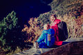 Family travel mother and little son hiking in autumn nature Royalty Free Stock Photos